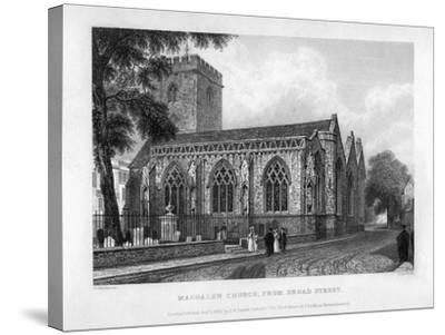 Magdalen Church, from Broad Street, Oxford, 1833-John Le Keux-Stretched Canvas Print