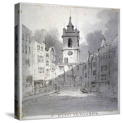 Church of St Giles Without Cripplegate from Fore Street, City of London, 1790-John Claude Nattes-Stretched Canvas Print