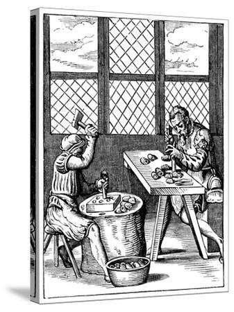 Dice Maker's Workshop, 16th Century-Jost Amman-Stretched Canvas Print