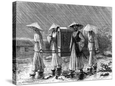 Palanquin Bearers in Rain Costume, Korea, 19th Century-Mario Azzopardi-Stretched Canvas Print