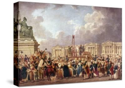 Execution by Guillotine in Paris During the French Revolution, 1790S (1793-180)-Pierre Antoine De Machy-Stretched Canvas Print