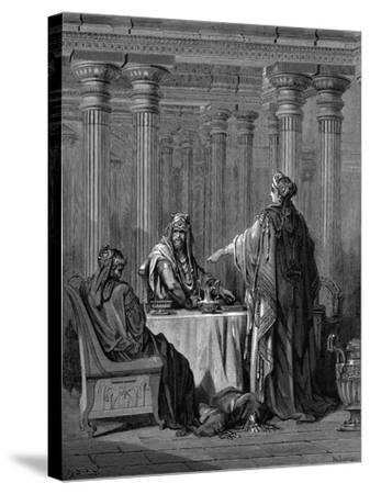 Esther (C450 B) before Her Husband King Ahasuerus (Xerxes) of Persia, 1866-Gustave Dor?-Stretched Canvas Print