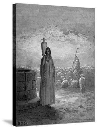 Jacob, Keeping Laban's Flocks, Sees Rachel at the Well, 1866-Gustave Dor?-Stretched Canvas Print
