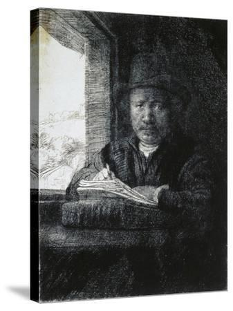 Self-Portrait Drawing by a Window, 1648-Rembrandt van Rijn-Stretched Canvas Print
