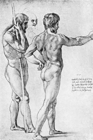 Two Male Nude Studies, 1515-Raphael-Stretched Canvas Print