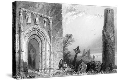 Entrance to a Temple, Clonmacnoise, Ireland, 19th Century-R Brandard-Stretched Canvas Print
