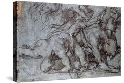 The Fighters, 16th Century-Taddeo Zuccaro-Stretched Canvas Print