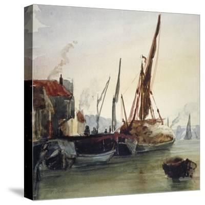 View of Boats Moored on the River Thames at Bankside, Southwark, London, C1830-Thomas Hollis-Stretched Canvas Print
