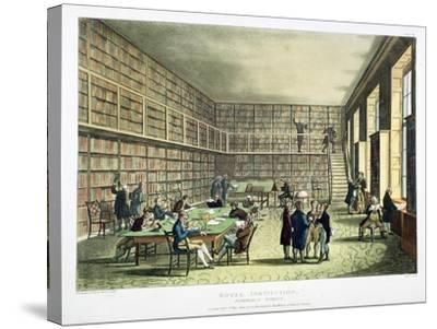 Library of the Royal Institution, Albermarle Street, London, 1808-1811-Thomas Rowlandson-Stretched Canvas Print