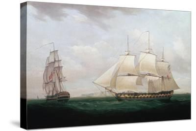 Two East Indiamen Off a Coast, Thomas Whitcombe, C1850-Thomas Whitcombe-Stretched Canvas Print