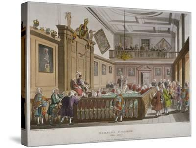 Interior View of the College of Arms' Hall with Figures Engaged in Discussion, City of London, 1808-Thomas Rowlandson-Stretched Canvas Print
