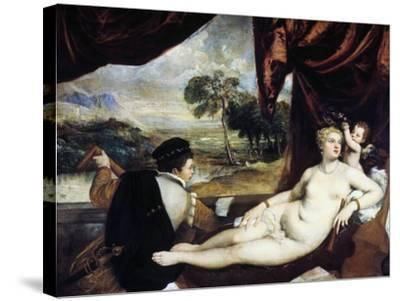 Venus and the Lute Player, C1565-1570-Titian (Tiziano Vecelli)-Stretched Canvas Print