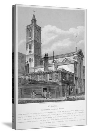 View of St Dionis Backchurch from Fenchurch Street, City of London, 1813-William Wise-Stretched Canvas Print