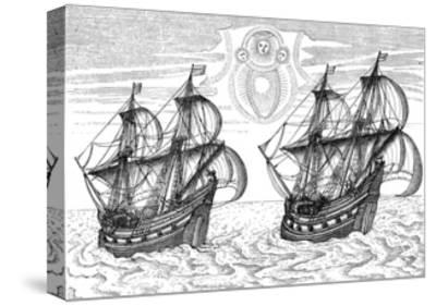 Ships of Willem Barents' Expedition to the Arctic, 1596--Stretched Canvas Print