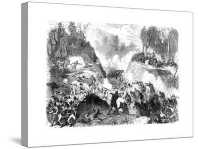Spanish Troops Fighting the People of Santo Domingo, in the Pass of Monte Christi, 1864--Stretched Canvas Print