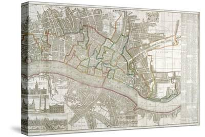 Map of Westminster, the City of London, Southwark and Surrounding Areas, 1743--Stretched Canvas Print