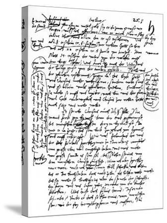 Facsimile of Martin Luther's Handwriting, 1903--Stretched Canvas Print