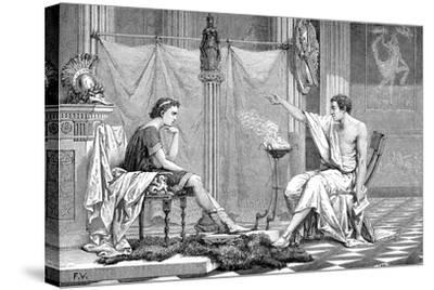 Alexander the Great (356-323 B) as a Youth, Listening to His Tutor Aristotle, C1875--Stretched Canvas Print