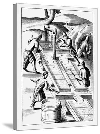 Washing Ore to Extract Gold, 1683--Stretched Canvas Print