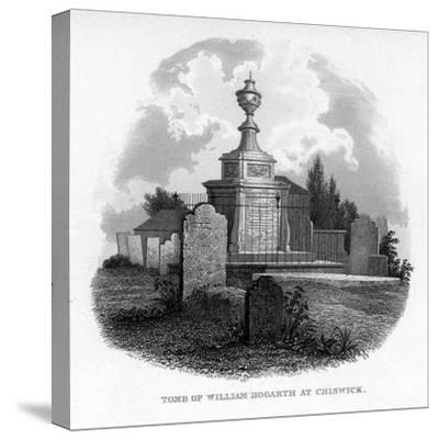 The Tomb of William Hogarth at Chiswick, 1840--Stretched Canvas Print