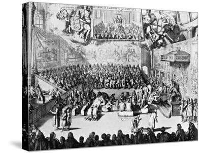 Opening of Parliament by Queen Anne, Westminster, London, 18th Century--Stretched Canvas Print