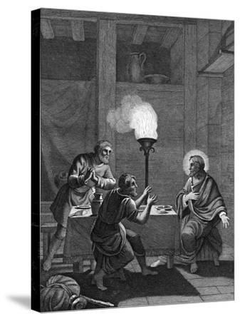 Christ and the Two Disciples at Emmaus, 1814--Stretched Canvas Print