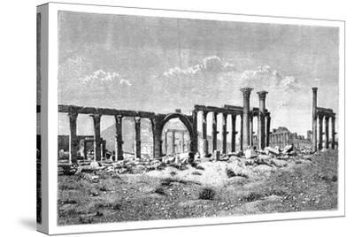 A Ruined Colonnade at Palmyra (Tadmu), Syria, 1895--Stretched Canvas Print