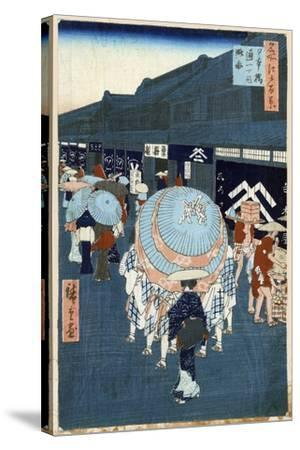 View of the First Street on Nihonbashidori (One Hundred Famous Views of Ed), 1856-1858-Utagawa Hiroshige-Stretched Canvas Print