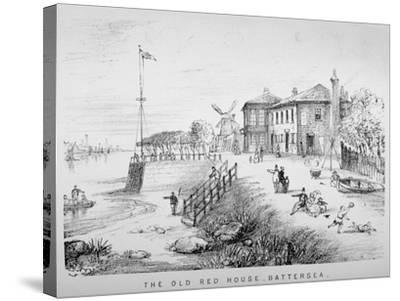 View of the Red House Inn on the Banks of the River Thames, Battersea, London, 1850--Stretched Canvas Print