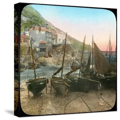 Fishing Fleet at Low Tide, Polperro, Cornwall, Late 19th or Early 20th Century--Stretched Canvas Print