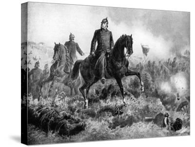 Wilhelm I at the Battle of Sadowa, 3 July 1866--Stretched Canvas Print