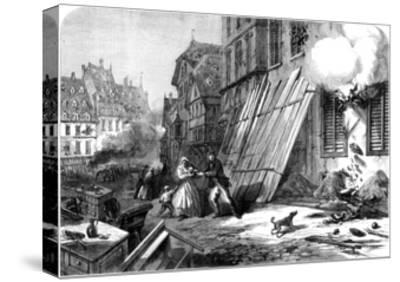 A Street in Strasbourg During the Siege and Bombardment, Franco-Prussian War, 1870--Stretched Canvas Print