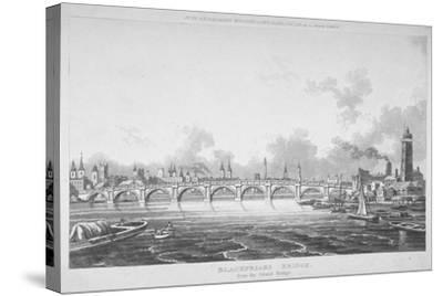 View of Blackfriars Bridge from the Strand Bridge, London, 1815-Thomas Hosmer Shepherd-Stretched Canvas Print