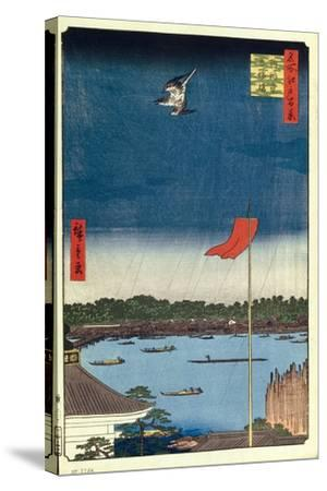 Komakata Hall and Azuma Bridge (One Hundred Famous Views of Ed), 1856-1858-Utagawa Hiroshige-Stretched Canvas Print
