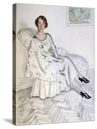 Lady in Interior, 1925-Boris Michaylovich Kustodiev-Stretched Canvas Print