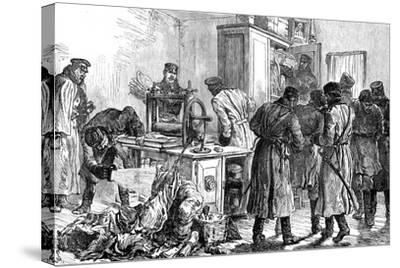 Police Discovering a Nihilist Printing Press, St Petersburg, Russia, 1887--Stretched Canvas Print