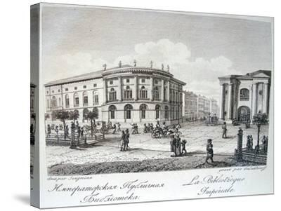 The Imperial Library in Saint Petersburg, Early 19th C-Stepan Philippovich Galaktionov-Stretched Canvas Print