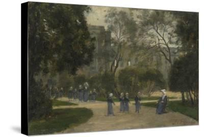 Nuns and Schoolgirls in the Tuileries Gardens, Paris, 1870S-1880S-Stanislas Lepine-Stretched Canvas Print