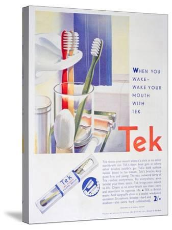 Advert for Tek Toothbrushes, by Johnson and Johnson, 1931--Stretched Canvas Print