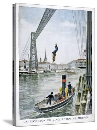 Person Plunges 55 Metres from Portside, Rouen, 1901--Stretched Canvas Print
