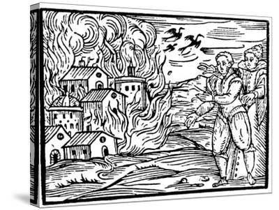 Witches Destroying a House by Fire - Swabia, 1533--Stretched Canvas Print