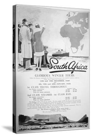 Advert for Winter Tours of South Africa, 1928--Stretched Canvas Print