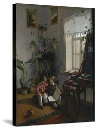 In the Room. Young Boys Looking at Book, 1854-Ivan Phomich Khrutsky-Stretched Canvas Print