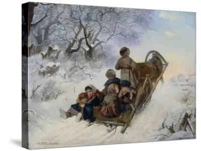 Children on a Horse Drawn Sleigh, 1870-Ivan Andreyevich Pelevin-Stretched Canvas Print