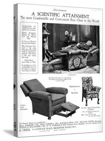 An Advertisement for 'Premier' Easy Chairs, 1926--Stretched Canvas Print