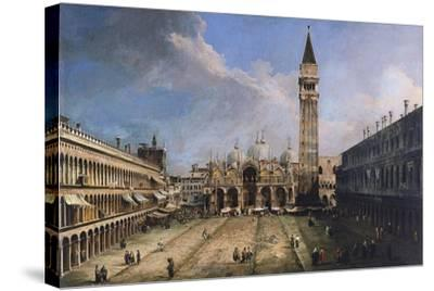 The Piazza San Marco in Venice, Ca 1723-1724-Canaletto-Stretched Canvas Print