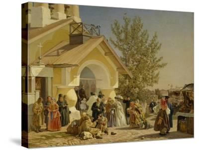 Coming Out of a Church in Pskov, 1864-Alexander Ivanovich Morozov-Stretched Canvas Print