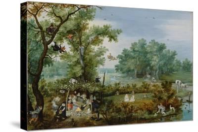 A Merry Company in an Arbor, 1615-Adriaen Pietersz van de Venne-Stretched Canvas Print