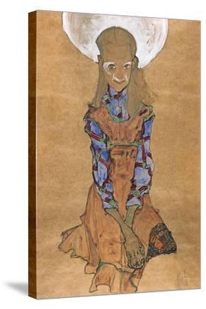 Seated Girl (Poldi Lodzinsk), C. 1910-Egon Schiele-Stretched Canvas Print