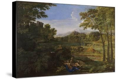 Landscape with Two Nymphs and a Snake, Ca 1659-Nicolas Poussin-Stretched Canvas Print